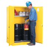 60 Gallon Manual-Close Justrite® Sure-Grip® EX Single Vertical Drum Cabinet with Roller Assembly