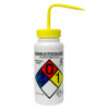 500mL (16 oz.) Scienceware® Sodium Hypochlorite Wide Mouth Safety-Labeled Wash Bottle with Yellow 53mm Cap