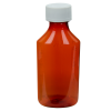 4 oz. Amber Oval Liquid Bottle with 24mm CR Cap