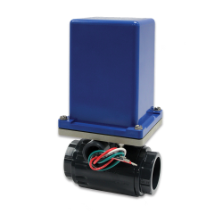 "1/2"" FNPT PVC Electromni® Actuator with Omni® Ball Valve"