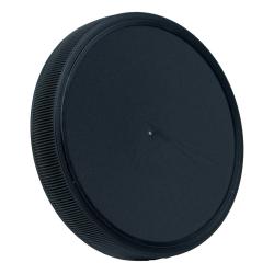 89mm Black Polypropylene Fine Ribbed Lid