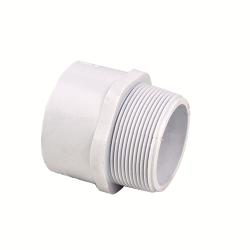 "1/2"" Schedule 40 White PVC MIPT x Socket Male Adapter"