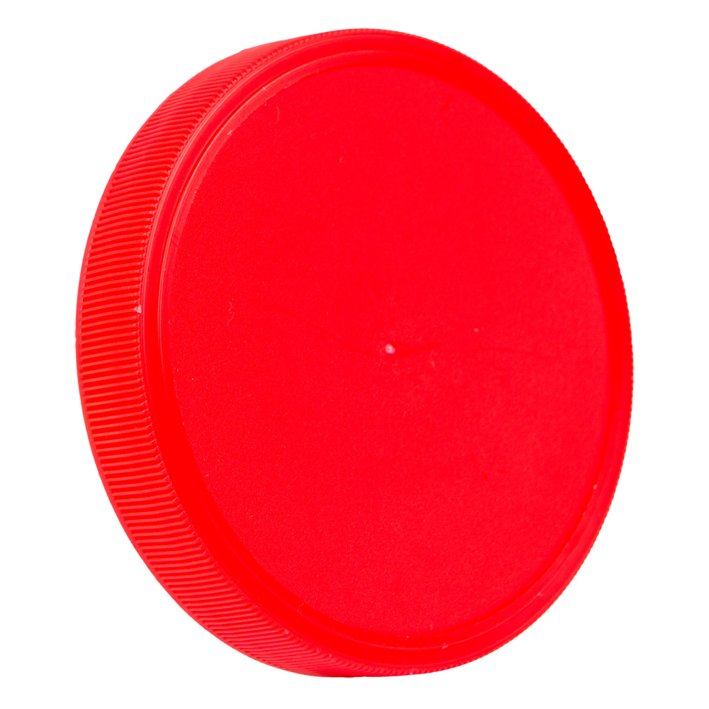 89mm Red Polypropylene Fine Ribbed Lid