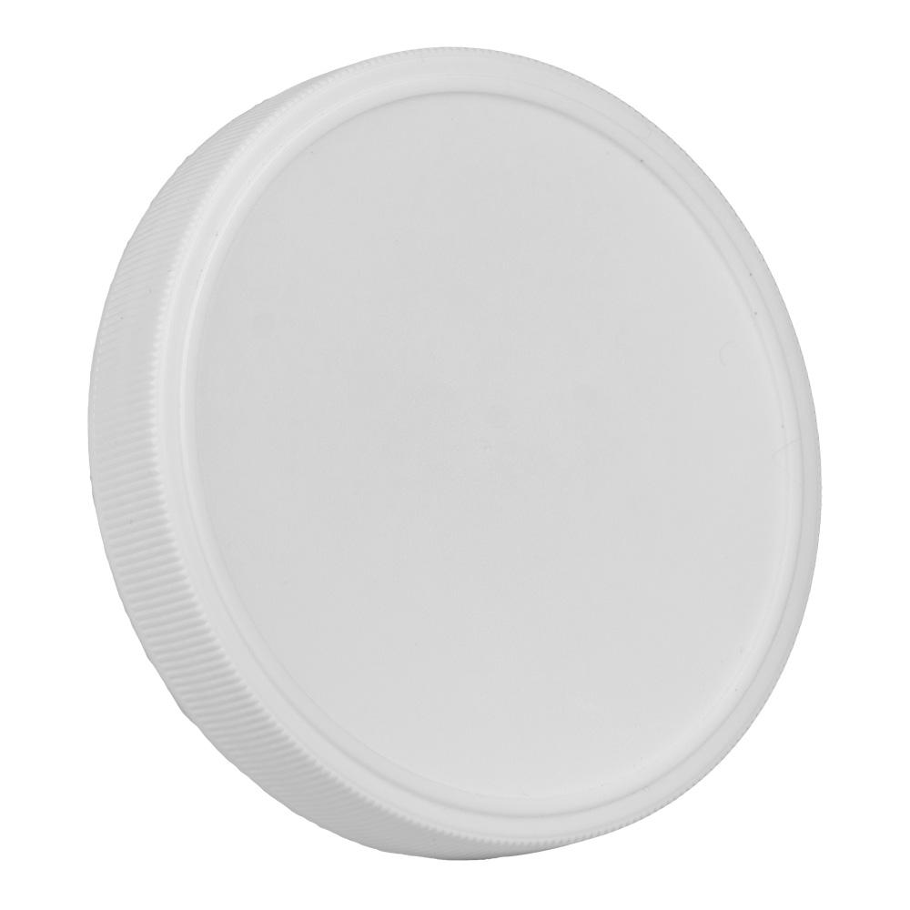 89mm White Polypropylene Fine Ribbed Lid