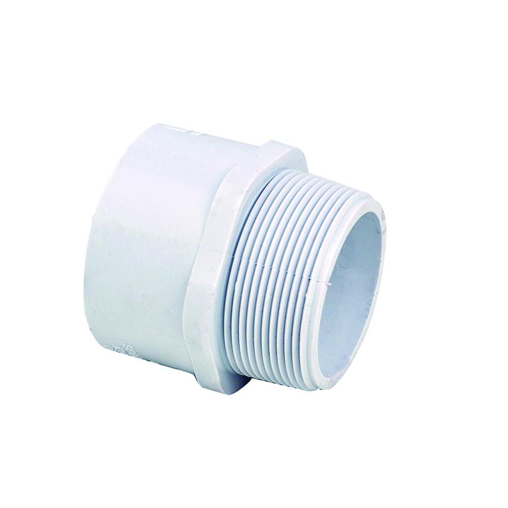 "2-1/2"" Schedule 40 White PVC MIPT x Socket Male Adapter"