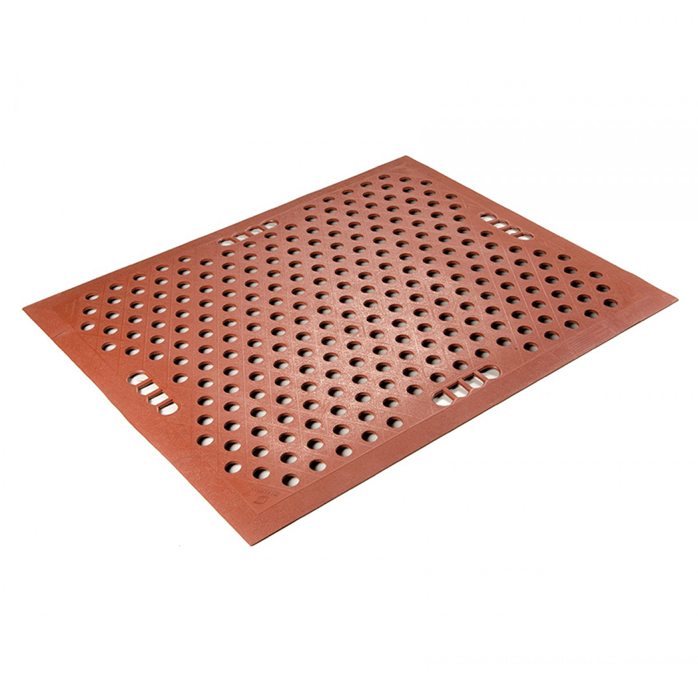 5' L x 2-1/2' W Terra Cotta Food Production Anti-Fatigue Mat