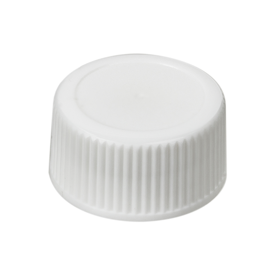 28/415 White Polypropylene Ribbed Cap with F217 Liner