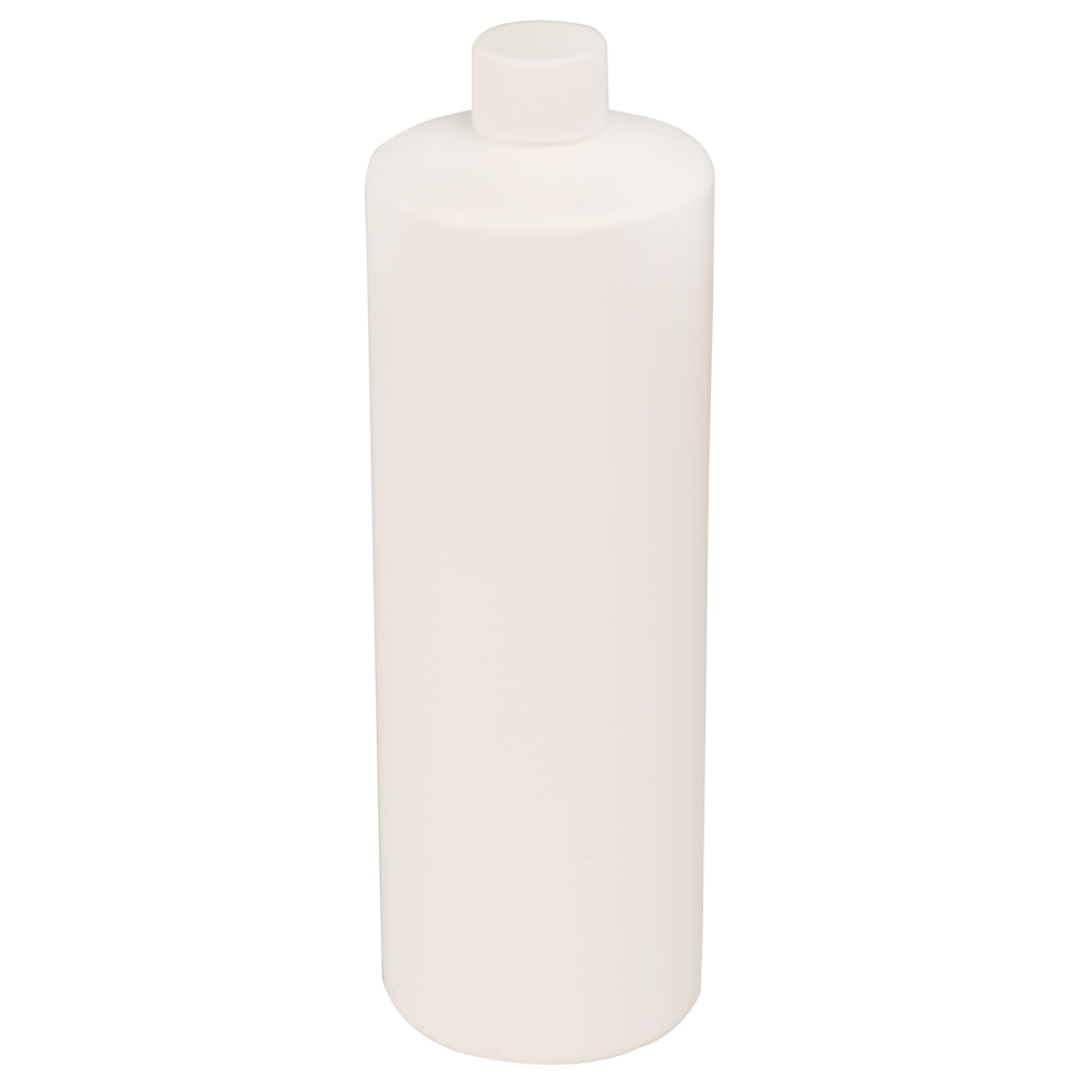 32 oz. White Cylindrical Sample Bottle with 28/410 Cap
