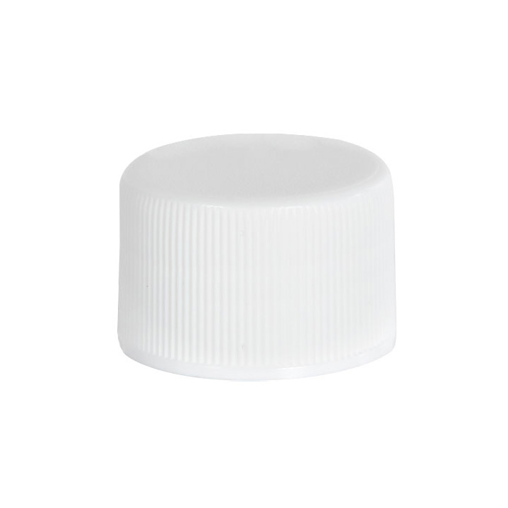 18/410 White Polypropylene Ribbed Cap with F217 Liner