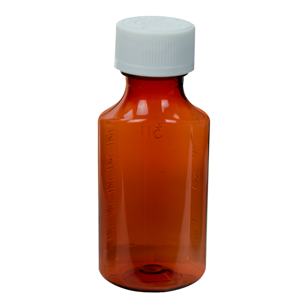 2 oz. Amber Oval Liquid Bottle with 24mm CR Cap
