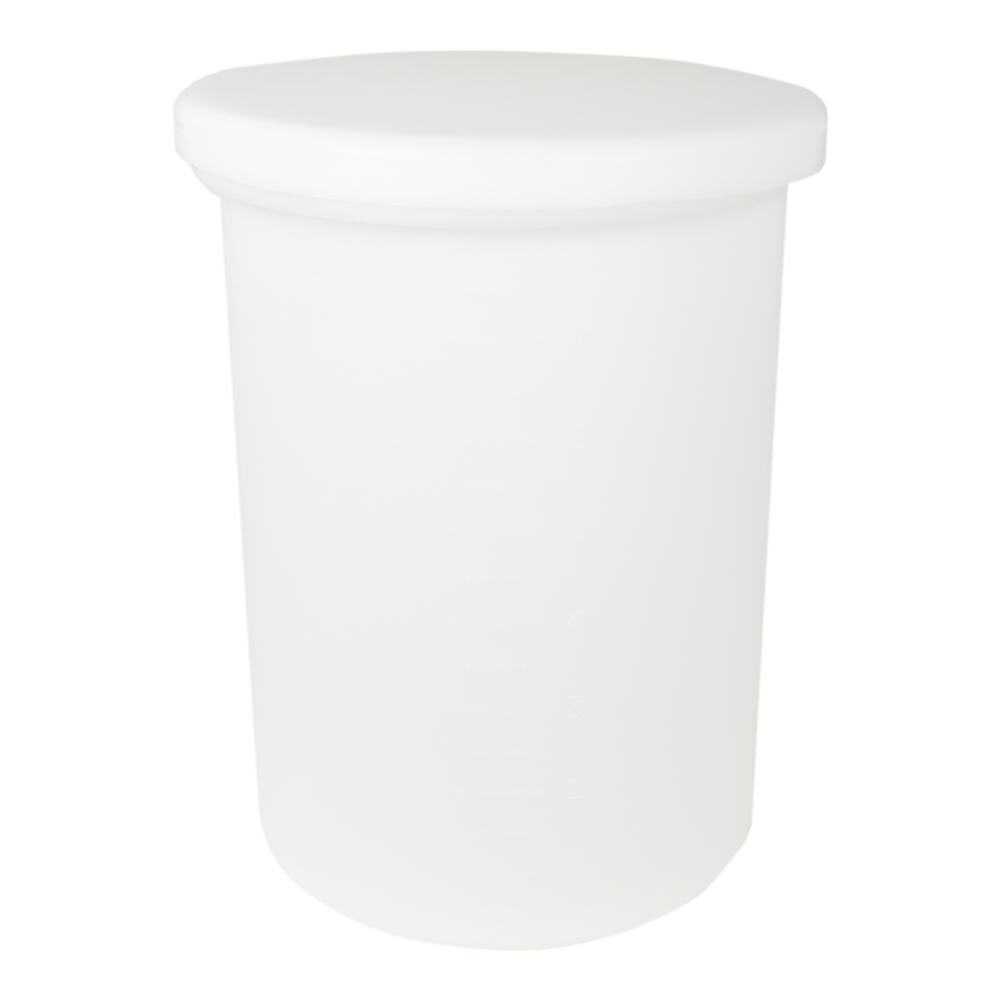 "7-1/2 Gallon Cylindrical Polypropylene Tank with Cover - 12"" x 18"""
