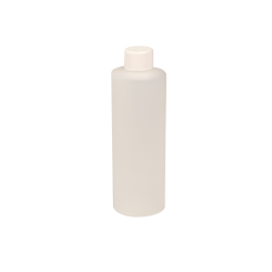 8 oz. Natural HDPE Cylindrical Sample Bottle with 24/410 Plain Cap