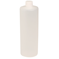32 oz. Natural HDPE Cylindrical Sample Bottle with 28/410 Plain Cap