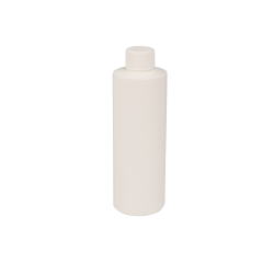 8 oz. White HDPE Cylindrical Sample Bottle with 24/410 Plain Cap