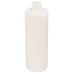 32 oz. White HDPE Cylindrical Sample Bottle with 28/410 Plain Cap
