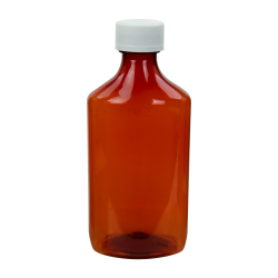 8 oz. Amber PET Oval Liquid Bottle with 24mm CR Cap