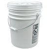 UN White 5 Gallon Bucket w/Metal Handle & UN White Lid w/Rieke Pour Spout