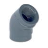 "1/2"" Schedule 80 Gray PVC Threaded 45° Elbow"