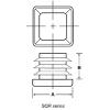 """1""""/14-20 Gauge Square Black Tubing Plug - A = 1.00"""", B = .43"""""""
