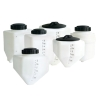 """2.5 Gallon White Rectangle Rinse Tank w/5"""" Lid & 3/4"""" Molded-in Threads - 15"""" L x 7"""" W x 14"""" Hgt."""