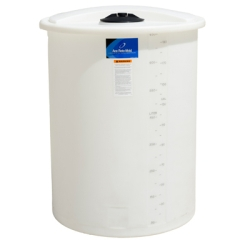 "55 Gallon White Closed Top Vertical Batch Tank 23"" x 38"""