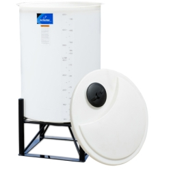 "250 Gallon White Open-Top Cone Bottom Batch Tank w/ Bolt On Cover 36"" x 65"""