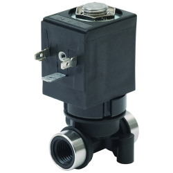 "1/4"" NPT 3-Way Nylon Solenoid - 24 VDC Spaded"