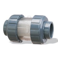 "1 1/4"" Praher S4 PVC True Union Inline Strainer 500 Micron 35 Mesh"