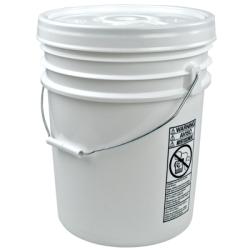 Letica® UN Rated White 5 Gallon Bucket w/Metal Handle & Lid w/Rieke Pour Spout