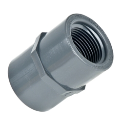 "Schedule 80; Gray Female Adaptor Threaded X Socket 1-1/4"" Pipe Size"