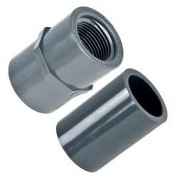 "Schedule 80; Gray Female Adaptor Threaded X Socket 1-1/2"" Pipe Size"