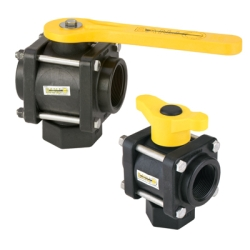 "2"" FNPT 3-Way Bottom Load PP Ball Valve with 2"" Opening Thru Ball and Straight Handle"