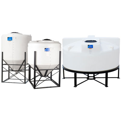 "150 Gallon 45° Cone Bottom, Flat Top White Tank w/12"" Lid 36"" Dia. x 51"" H"