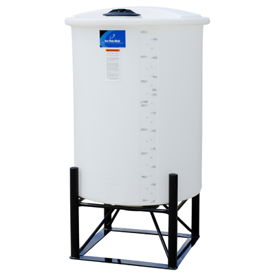 "200 Gallon White Closed Top 15° Cone Bottom Batch Tank - 36"" Dia. x 55"" H"