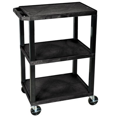 3 Shelf Black Luxor Utility Cart
