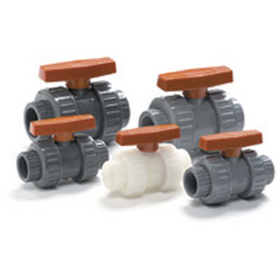 "1-1/2"" Socket/Thread PVC True Block Union Ball Valve with FKM O-rings"