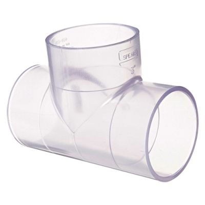 "3/4"" Clear Schedule 40 PVC Tee"