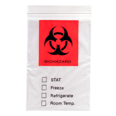 "12"" x 15"" 2 Mil Biohazard Specimen Bags"