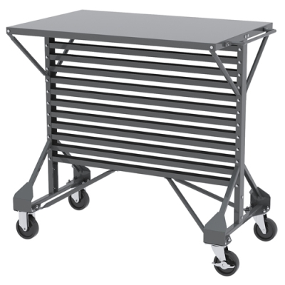 "Steel Cart with Shelf Top 38-1/2"" L x 24"" W x 36-1/2"" H"