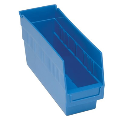 "11-5/8""L x 4-1/8""W x 6""H Blue Quantum® Store-More Shelf Bin"