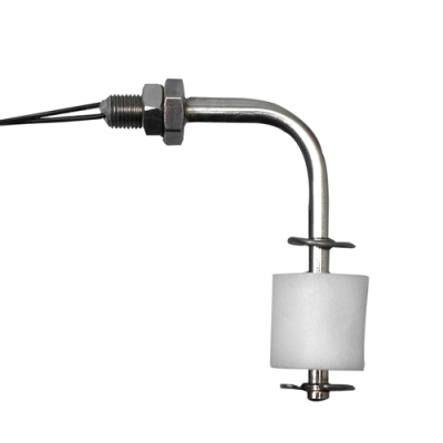 Horizontal 316 Stainless Steel & Polypropylene Liquid Level Switch with 3/8-24 Thread & Bent Stem