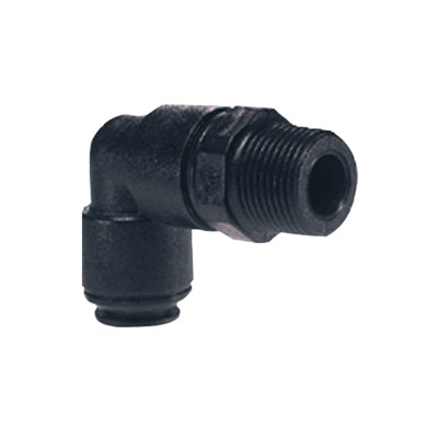 "12mm Tube OD x 1/2"" BSPT Black Swivel Elbow"