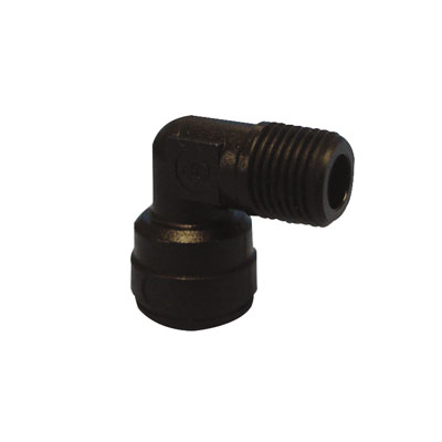 "6mm Tube OD x 1/4"" NPTF Black Fixed Elbow"