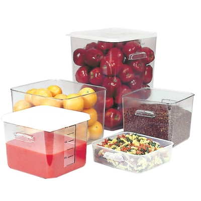 "2 Quart Clear Polycarbonate Rubbermaid® Square Container - 8-3/4"" L x 8-5/16"" W x 2-11/16"" Hgt."