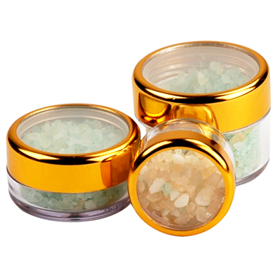 .2 oz./6mL Clear Acrylic Jars with Clear Gold Trim Cap