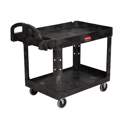 "Rubbermaid® Black 2-Shelf Utility Cart 39-1/4""L x 17-7/8""W x 33-1/4""H"