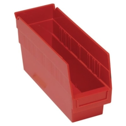 "11-5/8""L x 4-1/8""W x 6""H Red Quantum® Store-More Shelf Bin"