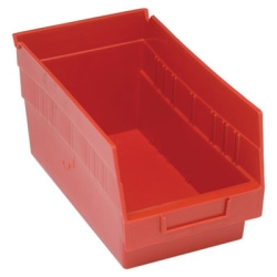 "11-5/8""L x 6-5/8""W x 6""H Red Quantum® Store-More Shelf Bin"