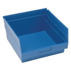"11-5/8""L x 11-1/8""W x 6""H Blue Quantum® Store-More Shelf Bin"