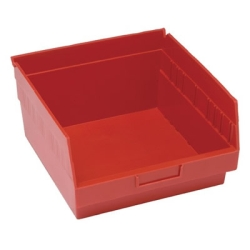 "11-5/8""L x 11-1/8""W x 6""H Red Quantum® Store-More Shelf Bin"